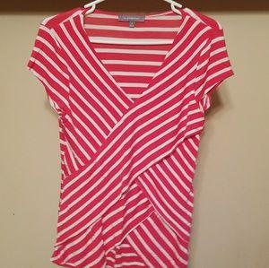 NY collection ruffle front shirt